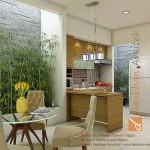 Sketsa 3D Interior Ruang Makan dan Dapur Mungil