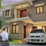 Gambar 3D Fasad Depan Rumah Minimalis di Tebet Jakarta