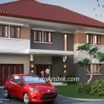 Gambar 3D [2] Fasad Depan Desain Rumah Klasik Minimalis 2 Lantai di Cilacap Jawa Tengah