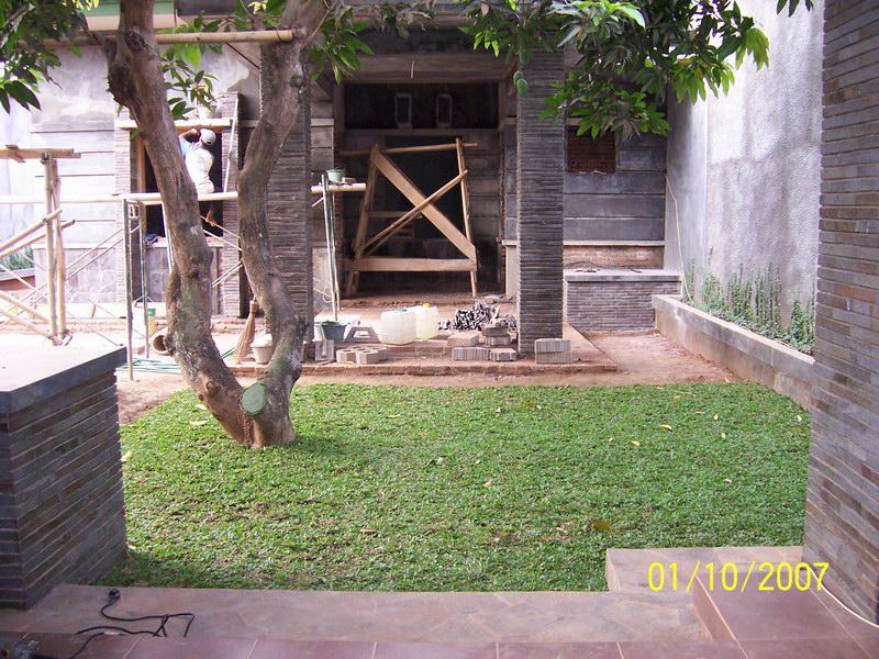 Halaman Rumput Gajah di Jalan Penghubung Rumah dan Galeri Batik