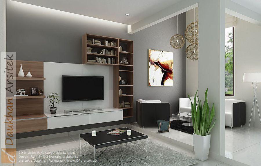 Gambar 3D Interior Ruang Tamu Rumah Modern Minimalis 2 Lantai di Kalibata Jakarta