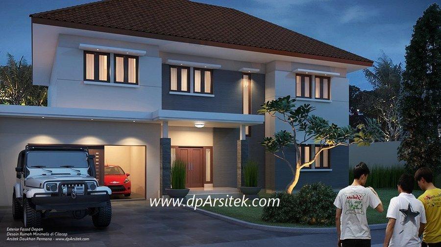 Gambar 3D Fasad Depan Desain Rumah Klasik Minimalis 2 Lantai di Cilacap Jawa Tengah