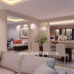 Gambar 3D Interior Ruang Makan dan Pantry Desain Rumah Klasik Minimalis 2 Lantai di Cilacap Jawa Tengah