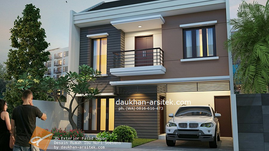Gambar 3D Fasad Depan Rumah Modern Minimalis 3 Lantai di Sentul Bogor