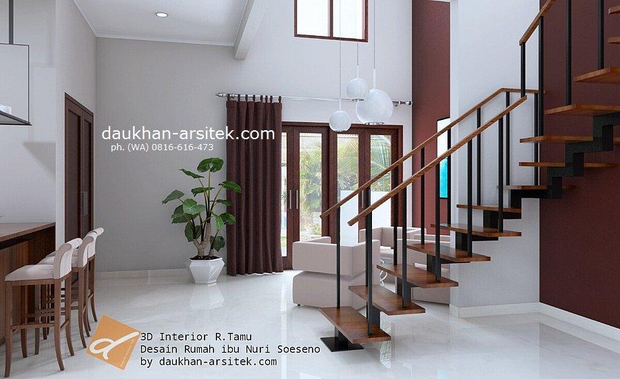 Gambar 3D Interior Ruang Tamu Rumah Modern Minimalis 3 Lantai di Sentul Bogor