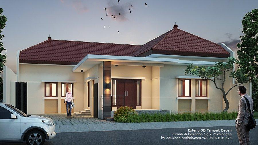 Gambar 3D Fasad Depan Desain Rumah di Pesindon kota Pekalongan